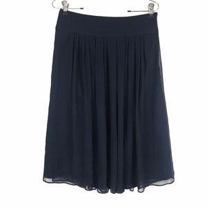 WHBM Skirt Navy Chiffon Pleated Style Sz 4